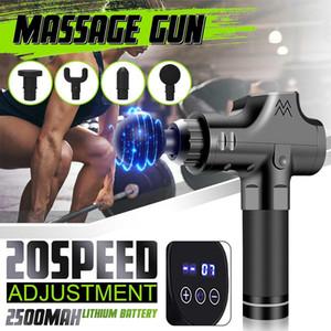 20 Engrenagem Terapia LCD eletrônico Muscle Massage armas Massagem Profunda Theragun relaxamento do corpo alívio da dor Massageador +4 Heads
