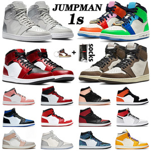 2020 New Arrivals Air Jordan 1 Jumpman Court Purple Pine Green Mens Womens Basketball Shoes Travis Scotts Bloodline Crimson Tint Fearless Sneakers