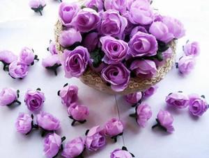 Cabeza de flores artificiales Pequeño Tea Bud Simulación Pequeña Tea Rose Head 3 cm Mini Decoración de flores de seda Cabeza de flores Accesorios de bricolaje
