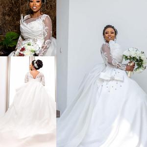 African White Langarm Ballkleid Brautkleider Vintage Spitze Applizierte Perle Perlen Gericht Zug Plus Size Brautkleider
