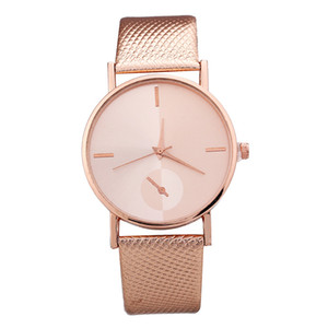 2019 мода новые женщины простой дизайн симметрии кожаный ремешок часы Оптовая популярные дамы повседневные платья кварцевые наручные часы