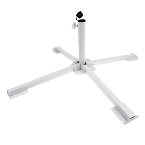 Portable Steel Folding Lawn Sunshade Anchor Patio Base Beach Umbrella Stand Holder White