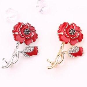 Kadınlar Emaye Pim Kırmızı Haşhaş Yapay elmas Gelinlik Buket Coat Badge Broş Takı için 10 Ad Vintage Haşhaş Çiçek Broş