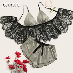 COLROVIE Grey Eyelash Floral Lace Satin Lingerie Set Women Longline Triangle Intimates 2019 Bra And Shortie Ladies Sexy Sets
