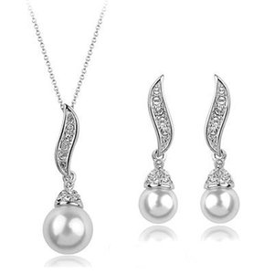2020 Romantic Gold Silver Plated Freshwater Pearl Angel Wings Necklace Stud Earrings Bridesmaid Jewelry Sets For Women