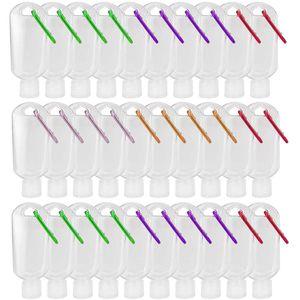 30ml / 50ml / 60ml Seyahat Plastik Şeffaf Anahtarlık el dezenfektanı Şişeler Flip Cap ile yeniden doldurulabilir Boş şişeler Taşınabilir sıkın Konteynerleri