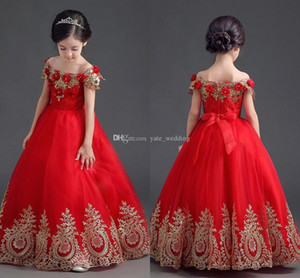 Elegante Ombro Red Princess Meninas Pageant Vestidos Off Applique até o chão vestido de baile Vestidos Pageant Para Adolescentes criança Girls Dress Flower