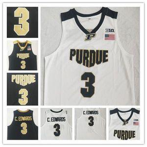 Carsen Edwards Jersey di pallacanestro di Purdue Boilermaker # 3 C.Edwards eblack bianca cucita NCAA College Basketball Maglie Retro Bianco Nero
