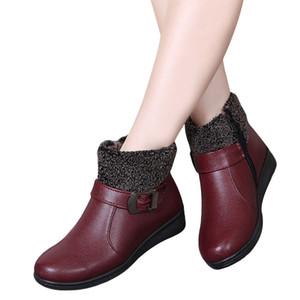 Botas de invierno para mujer Botas con cremallera para mujer Botines impermeables Botas de nieve para mujer Zapatos de piel de piel de mujer Botas Mujer Tamaño 35-40