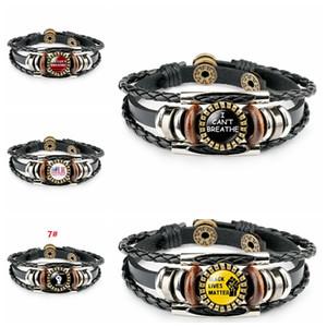 JE RESPIRE Bracelets Weave Non cuir Cowboy Bracelet noir en direct Matière Wristband Président Bracelet élection Supplie
