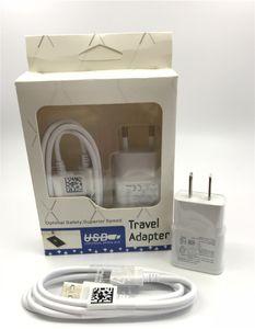 2 в 1 Устройство зарядного устройства ЕС США Настенное зарядное устройство 5V 2A Travel Adapter + 1 м Быстрая Микро USB-кабель с розничной упаковкой для Samsung S6 S7 Huawei