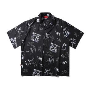 2020 Hip Hop Рубашка Streetwear Печати Mens / женщина лето Hawailian рубашка Негабаритных Harajuku Бич рубашка Hip Hop Свободные топы рубашки