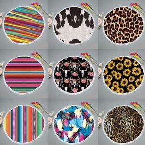 Round Strandtuch Beach Blanket Quaste Striped Kreis Handtücher gedruckte Frauen-Schal-Yoga-Matten-Picknick-Teppiche 9 Farben DHC259