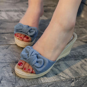 Été New Wedge Chaussons Cute Girl Designer Bow femmes Tongs Femme Plateforme Sandales Femme De Chanclas Mujer WF269