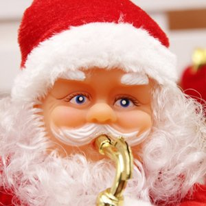 Christmas Santa Claus Doll Toy Electric Movable Santa Toy with Musical Instrument Kids For Home Xmas Happy New Year Gift 30cm