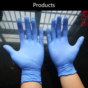 2020 Disposable Gloves Thick And Durable Nitrile Rubber Latex Blue Bag Food Catering Beauty Oil And Acid Resistance9*