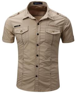 55888 Chemise style militaire Hommes Casual Solide Couleur coton Design Tourner à col à manches courtes chemises en plein air uniforme militaire Livraison gratuite