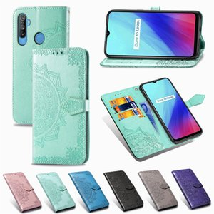Phone Cases for OPPO Realme C3 PU Leather Datura Flowers Concave Convex Surface with Wallet Card Holder Hand Strap (Model: RealmeC3)