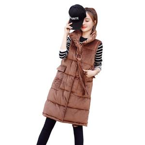 Rlyaeiz женщины зима жилет пальто 2018 Мода осень золото бархат вниз хлопок средней длины без рукавов куртки толстые теплые женщины жилет
