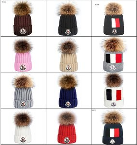 2020 High Quality Men's Canada Monc Cided Beanie Hat with Real Fur Fund Funny Pom Knitt Beanies Warm Women Knit Bonnet Beanies Knit Hat
