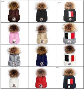 2020 Qualitäts-Männer Kanada Monc Cuffed Beanie Hüte mit Echtpelz Lustige Pom Strickmütze Wolle Warm Frauen Knit Bonnet Mützen Wollmütze