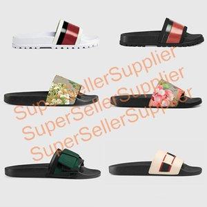 Diseñador de goma deslizantes sandalia hombres floral del brocado tirón del deslizador de engranaje fondos mujeres de los fracasos de rayas playa causal zapatilla con la caja US5-11