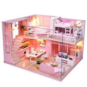 Diy Doll Doll House Accessories Dolls & Accessories House Wooden Doll Houses Miniature Dollhouse Furniture Kit with Music and Dust Cover Led