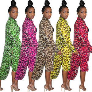 Kadınlar Uzun Gömlek Giyim Bölünmüş Leopar Baskı Pelerin Yaka Boyun Düzensizlik Hırka Mont Yaz Giyim SıCAK Satış 1306