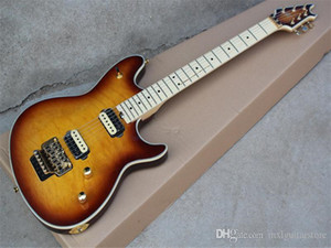 Factory custom Tobacco Sunburst Electric Guitar with Gold Hardwares,Flame Maple Veneer,Floyd Rose,offer customized