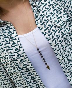 2020 Lava-Rock-Korn Pfeil Quaste lange Halskette Aromatherapie ätherisches Öl Diffusor Halskette schwarze Lava-hängende Halsketten-Schmucksachen für Frauen