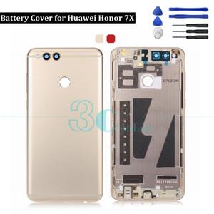 Huawei Honor 7X Back 배터리 커버 메탈 실제 도어 하우징 사이드 키 카메라 유리 렌즈 명예 7X 교체 용 예비 부품