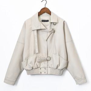 Kolay Bf Rüzgar Pu Deri Giyim Kadın Kısa İnce Ve İnce Beyaz Deri Ceket Lokomotif Gevşek Coat