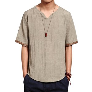 Linen Mens T Shirts Fashion 2019 Summer New Men's Stand Collar Tshirt Chinese Style Solid Casual Color Short Sleeve TEES Tops T200528
