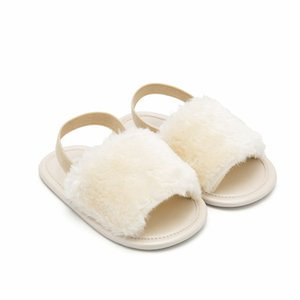 Summer Baby Shoes Girl Plush Sandals Anti-Slip Crib Shoes Soft Sole Prewalkers Flowers Baby