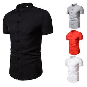 Bouton chinois Vent disque T-Shirt Mens Designer Vintage Chemise à manches courtes de couleur unie Homme Fahion Vêtements