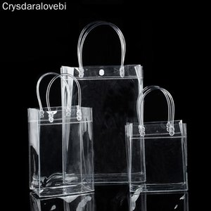20pcs- Transparant PVC Gift Tote Packaging Bags With Handle Clear Plastic Handbag