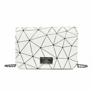 2019 cuero de la PU de la cadena Mujeres bolsa de mensajero de la tela escocesa de las señoras de Crossbody del bolso de moda geométrica pequeño colgajo bolso de las compras