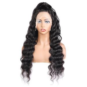 10A suelta la onda profunda 4 * 4 Cierre transparente de encaje pelucas de pelo brasileño recto pelucas de pelo humano con el pelo del bebé de la onda del cuerpo de agua rizado rizado
