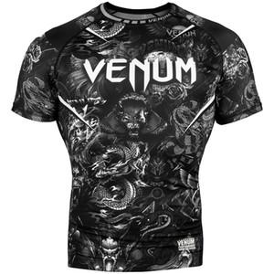 traje de MMA logotipo de la lucha de manga corta de la camiseta de compresión medias anti-desgaste rápido de kickboxing de la aptitud del boxeo seca libre de jiu-jitsu