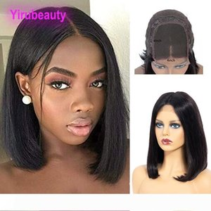 Peruvian 4X4 Lace Front Wig Straight Bob Wigs 100% Human Hair 4*4 Bob Wig Wholesale Natural Color 8-16inch