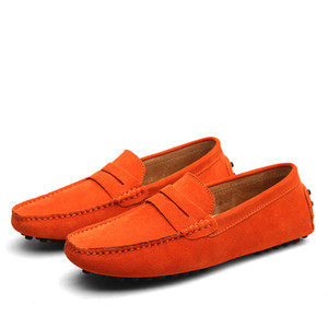 calzature maschili scivolano sui fannulloni morbido mocassino di alta qualità grandi grandi size38-49 Uomini cuoio genuino vestono pattini piani casuali di Gommino di guida
