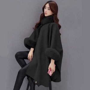 Art und Weise sleeveless Mantel koreanische Version Fuchspelzkragen langer Abschnitt Wollmantel Temperament Mantel Schal Wollmantel Frauen