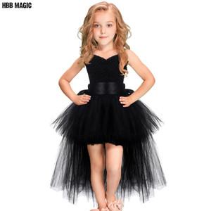 Black Girls Tutu Tulle Robe col V train Fille SOIRÉE anniversaire Robes enfants fille robe de bal robe de Halloween Costume 2-7Y