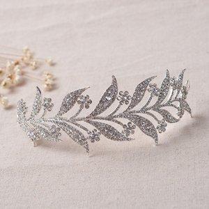 Yaprak Çiçek Kristal Gelin Saç adet Alaşım Fotoğraf Shot Düğün Tiaras Taçlar Yapraklar Gelin Kafa DIY Rose Gold Gümüş