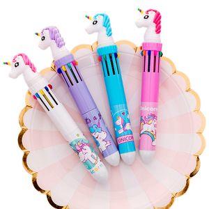 New Cute Cartoon 10-color refill Unicorn Ballpoint Pen Rainbow Kawaii Ball Pen School Office Supply Kids Gift Stationery