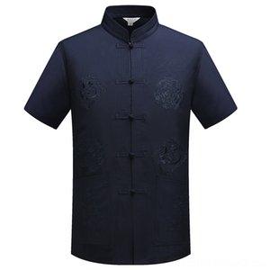 Mandarin Collar Kung Fu Tai Chi Chemises hommes Vêtements pour hommes Uniforme traditionnel dragon chinois Tang Vêtements de Suit Top été en coton lin Sh