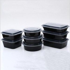 Porción nuevo diseño de comidas de preparación contenedores de almacenamiento de alimentos Microondas Control de Contenedores desechables + tapas Bento Box Lunch bandeja de la caja con tapa