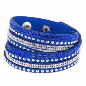 Mujeres Crystal Rhinestone Slake Deluxe cuero Wrap pulsera Cuff Punk pulsera brazaletes Fit Party mejor regalo 15 colores