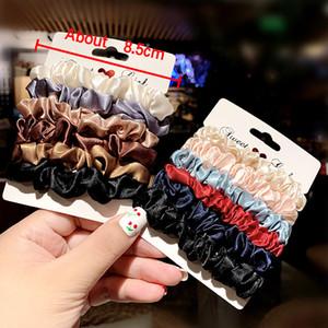 60PCS / 많은 헤어 원 색 천으로 간단한 대장 원 순 붉은 숲 묶여 머리 머리 로프 여성에 묶여 헤어 포니 테일 보석