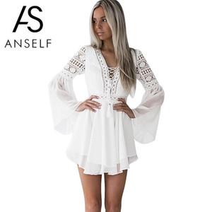 Ahueca hacia fuera el vestido blanco atractivo de las mujeres mini vestido de la gasa de Criss Cross semi-pura inmersión con cuello en V manga larga de encaje de ganchillo Vestido Negro